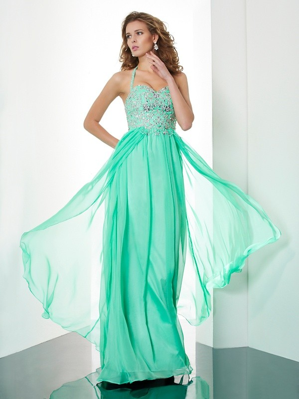 A-Line/Princess Hunter Chiffon Sweep/Brush Train Dresses with Beading