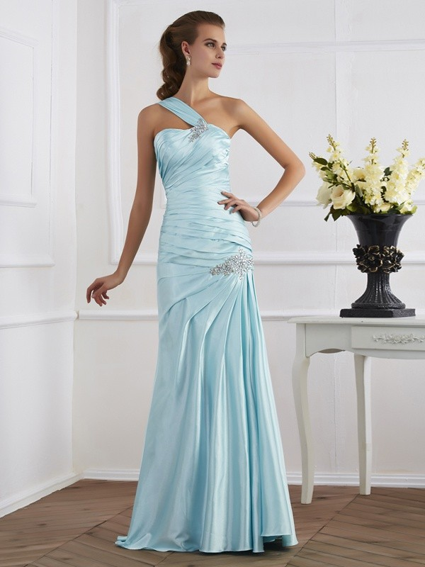 Trumpet/Mermaid Blue Elastic Woven Satin Floor-Length Dresses with Ruched