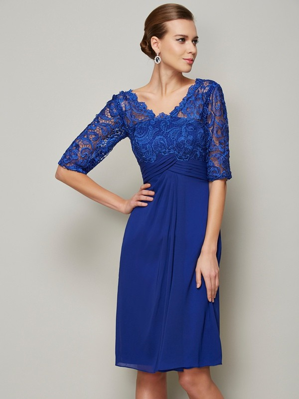 Sheath/Column Royal Blue Chiffon Knee-Length Mother Of The Bride Dresses with Lace