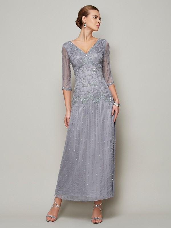 Sheath/Column Silver Elastic Woven Satin Ankle-Length Mother Of The Bride Dresses with Beading