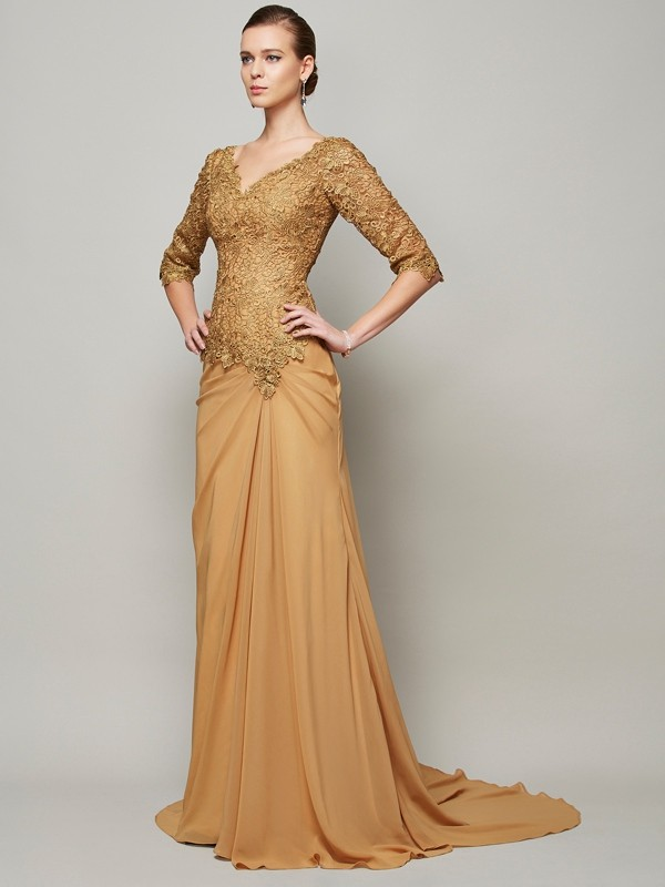 Sheath/Column Brown Chiffon Floor-Length Evening Dresses with Lace