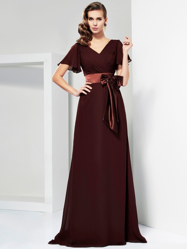 A-Line/Princess Chocolate Chiffon Sweep/Brush Train Mother Of The Bride Dresses with Bowknot