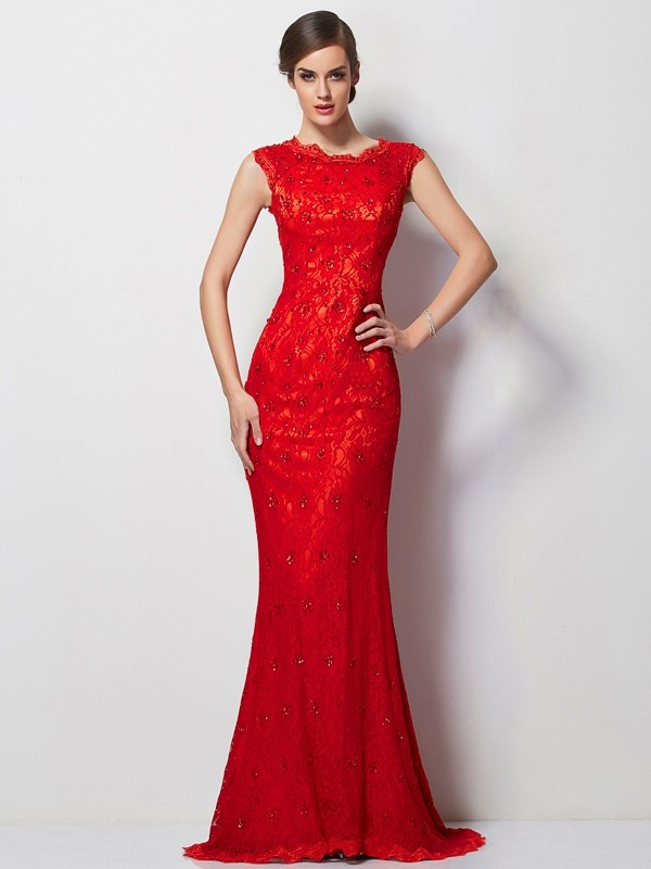 A-Line/Princess Red Chiffon Sweep/Brush Train Dresses with Applique