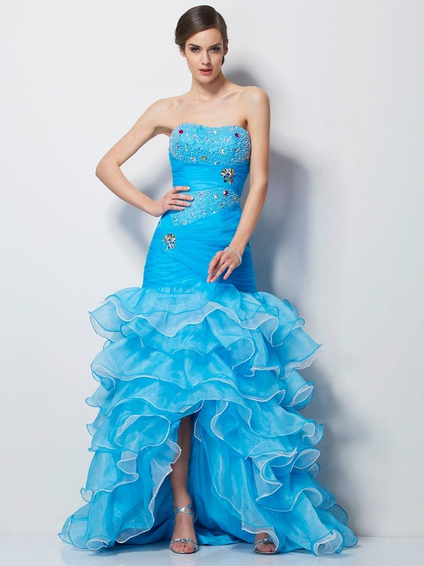 Trumpet/Mermaid Blue Tulle Asymmetrical Dresses with Beading