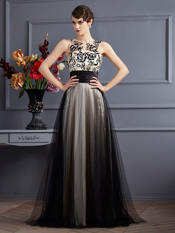 A-Line/Princess Black Silk like Satin , Net Floor-Length Dresses with Other