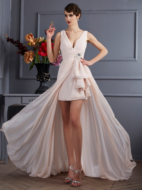 A-Line/Princess Pearl Pink Chiffon Court Train Dresses with Beading