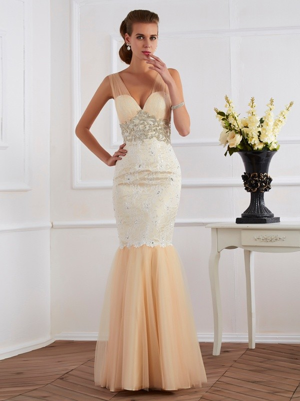 Trumpet/Mermaid Champagne Lace , Net Floor-Length Dresses with Beading