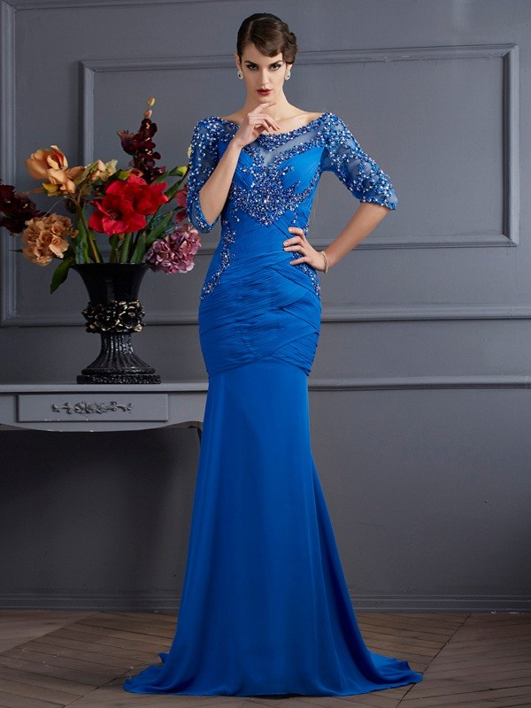 Trumpet/Mermaid Royal Blue Chiffon Sweep/Brush Train Dresses with Other