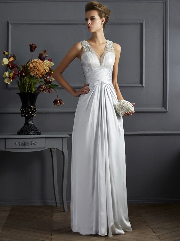 A-Line/Princess Silver Silk like Satin Floor-Length Dresses with Beading