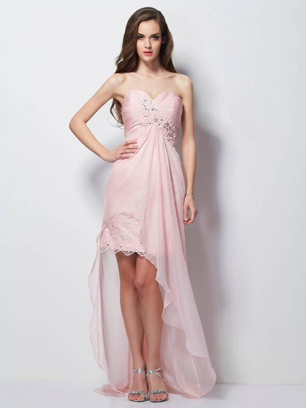 A-Line/Princess Pearl Pink Chiffon Asymmetrical Evening Dresses with Beading