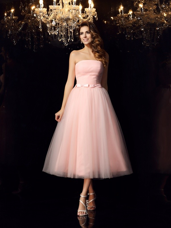 Ball Gown Pink Satin Tea-Length Dresses with Sash/Ribbon/Belt