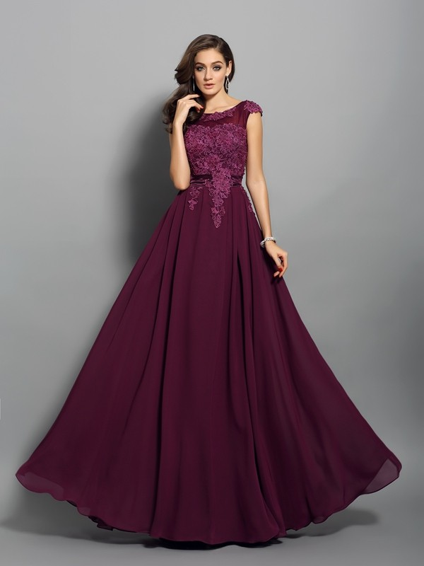 A-Line/Princess Grape Chiffon Floor-Length Dresses with Applique