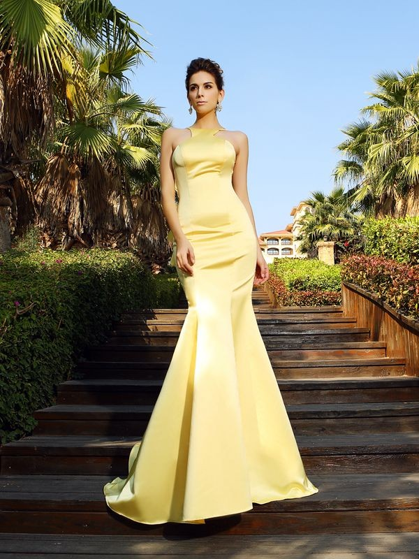 Trumpet/Mermaid Yellow Satin Court Train Dresses with Other