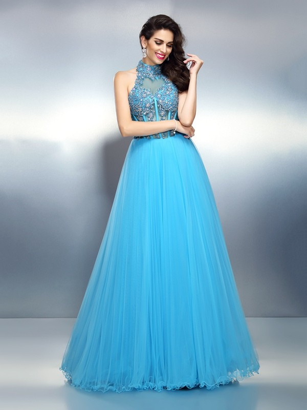 A-Line/Princess Blue Satin Floor-Length Evening Dresses with Beading