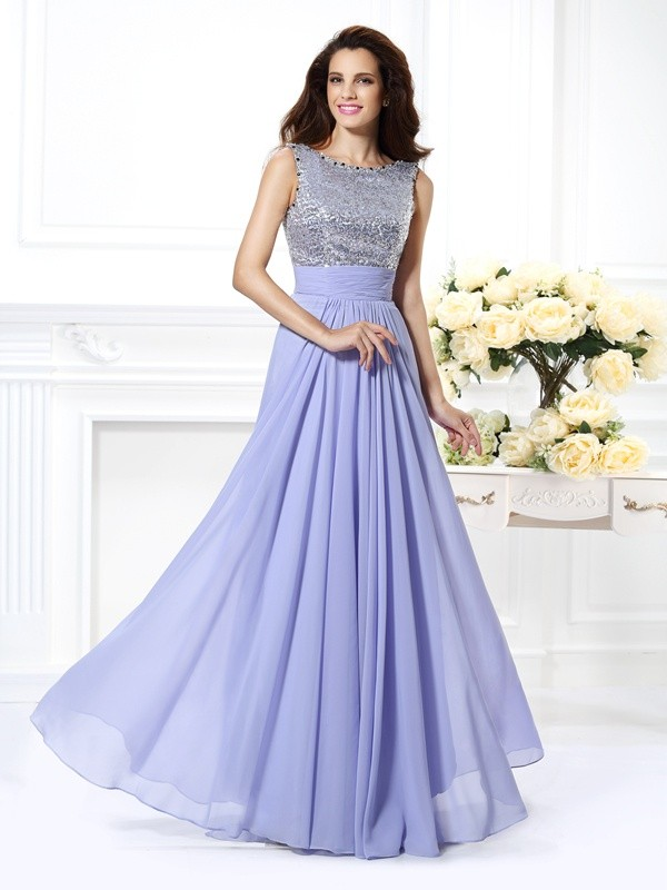 A-Line/Princess Lavender Chiffon Floor-Length Dresses with Lace
