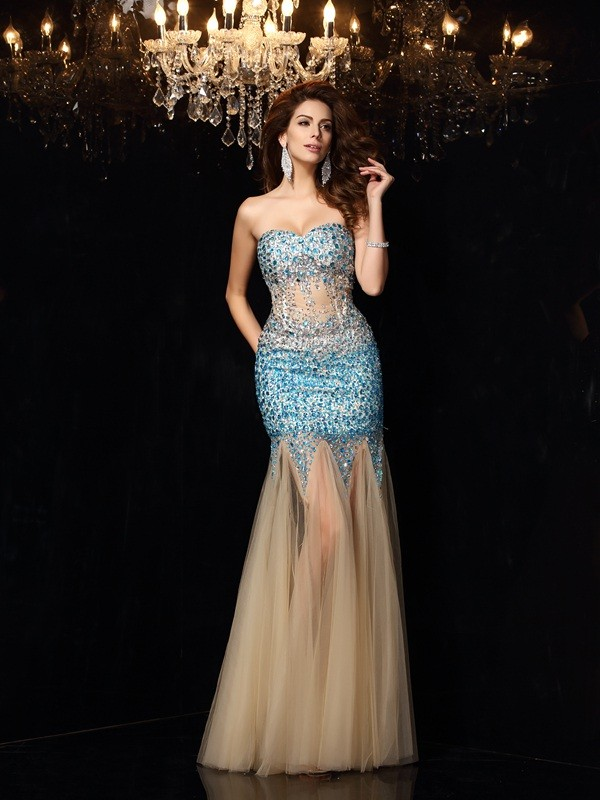 Sheath/Column Champagne Net Floor-Length Dresses with Beading