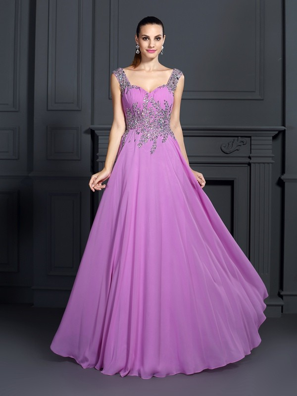 A-Line/Princess Regency Chiffon Floor-Length Dresses with Beading