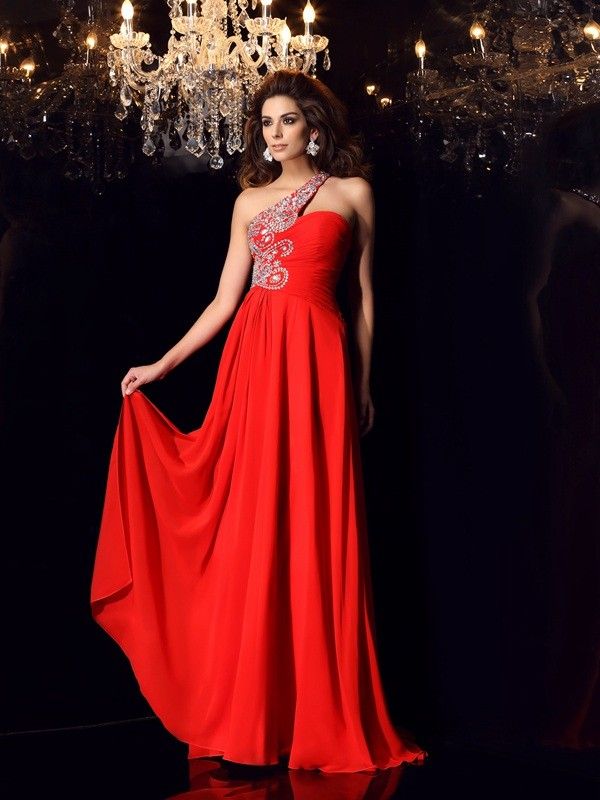 A-Line/Princess Red Chiffon Sweep/Brush Train Dresses with Beading