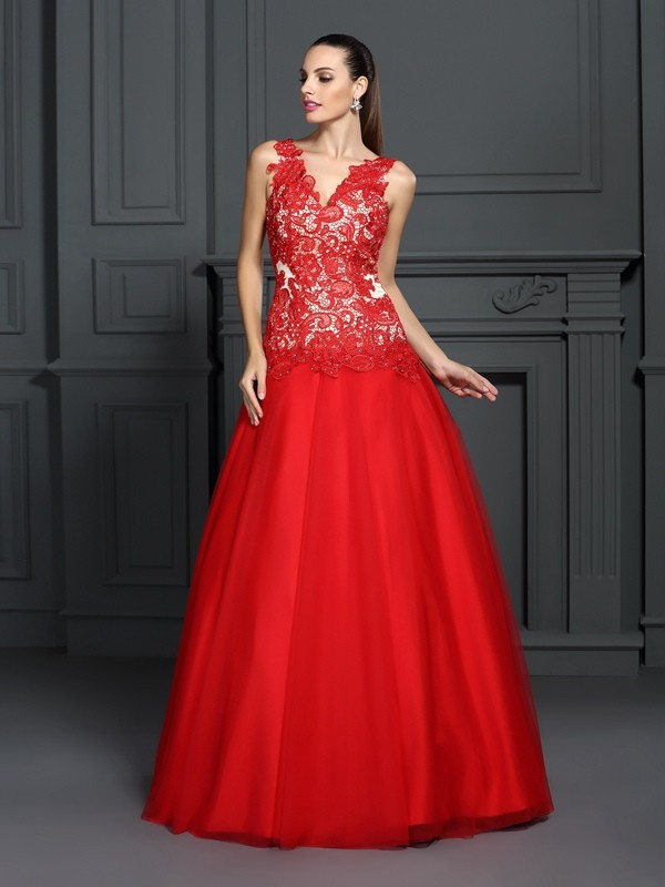 Ball Gown Red Lace Floor-Length Dresses with Lace