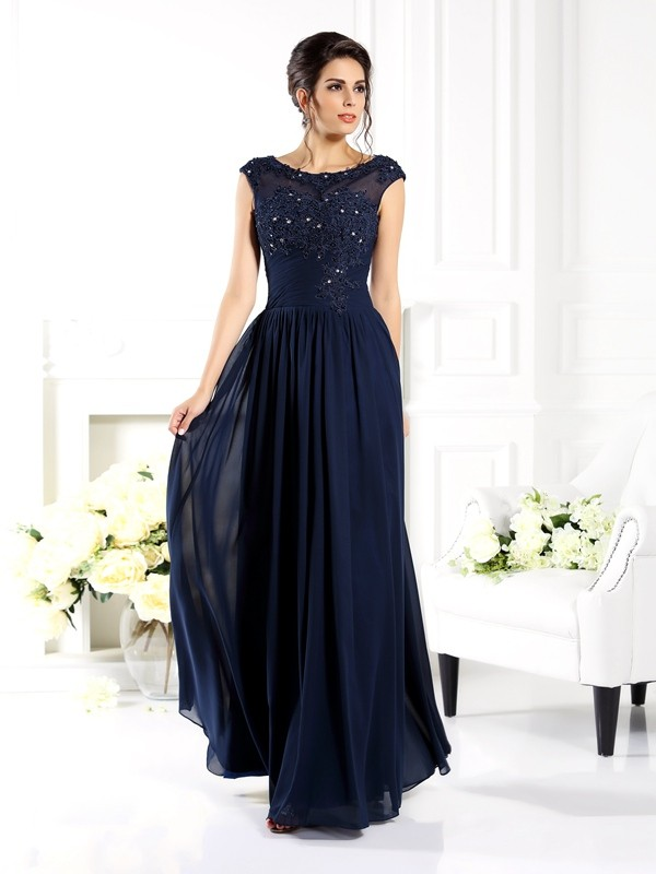 A-Line/Princess Dark Navy Chiffon Floor-Length Mother Of The Bride Dresses with Beading