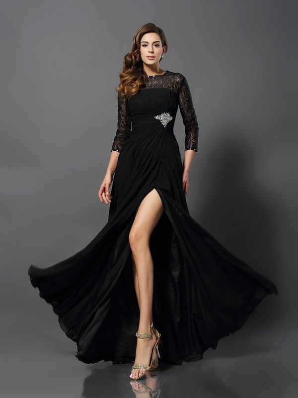 A-Line/Princess Black Lace Floor-Length Dresses with Other