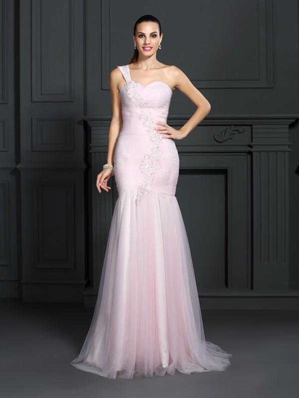 Trumpet/Mermaid Pink Satin Sweep/Brush Train Dresses with Other