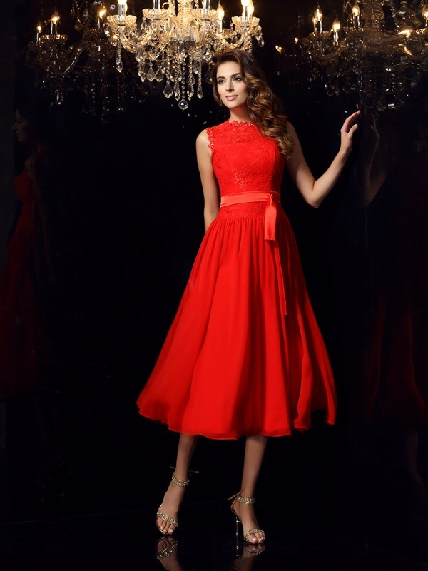 A-Line/Princess Red Chiffon Tea-Length Dresses with Sash/Ribbon/Belt