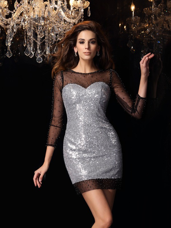 Sheath/Column Silver Sequins Short/Mini Homecoming Dresses with Beading