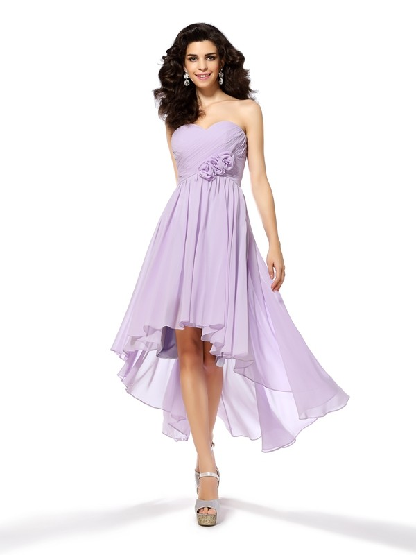 A-Line/Princess Lavender Chiffon Asymmetrical Homecoming Dresses with Hand-Made Flower