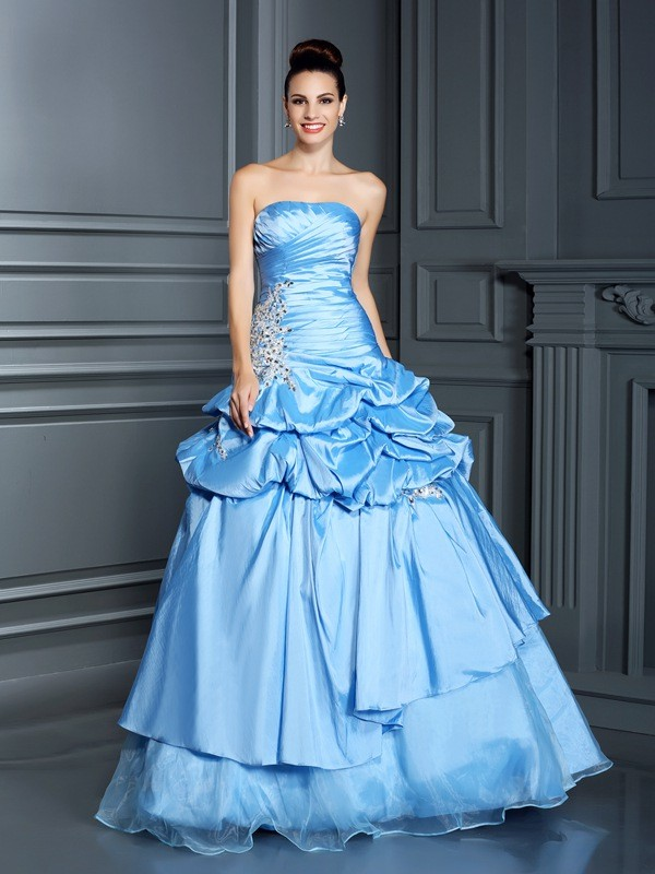 Ball Gown Royal Blue Organza Floor-Length Dresses with Ruffles