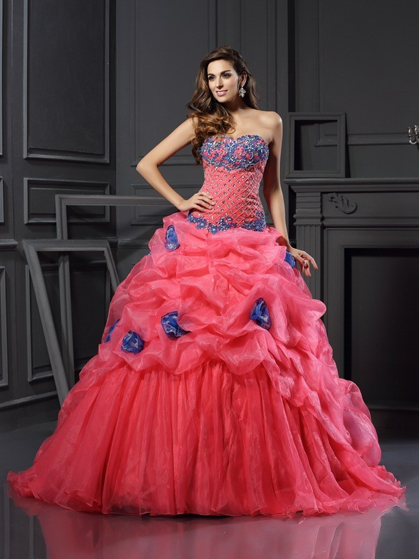 Ball Gown Fuchsia Organza Chapel Train Dresses with Beading