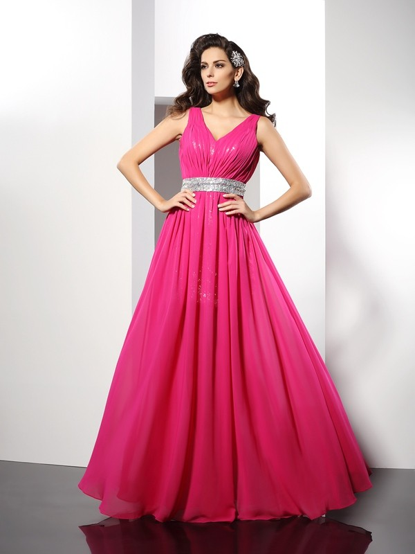 A-Line/Princess Fuchsia Chiffon Floor-Length Evening Dresses with Paillette