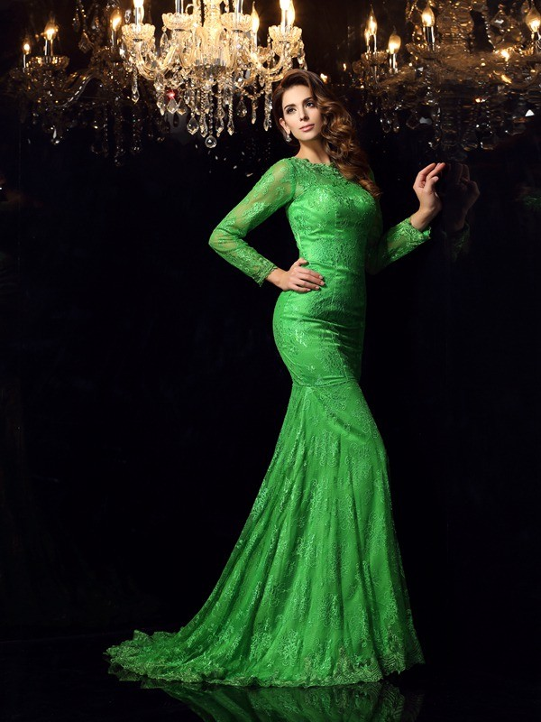 Trumpet/Mermaid Hunter Green Elastic Woven Satin Court Train Dresses with Applique