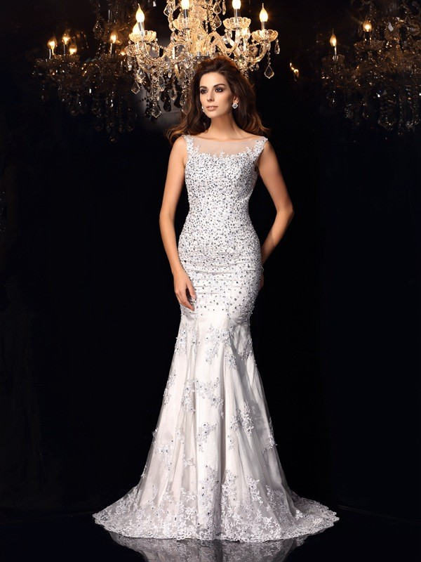 Trumpet/Mermaid Ivory Tulle Chapel Train Dresses with Beading