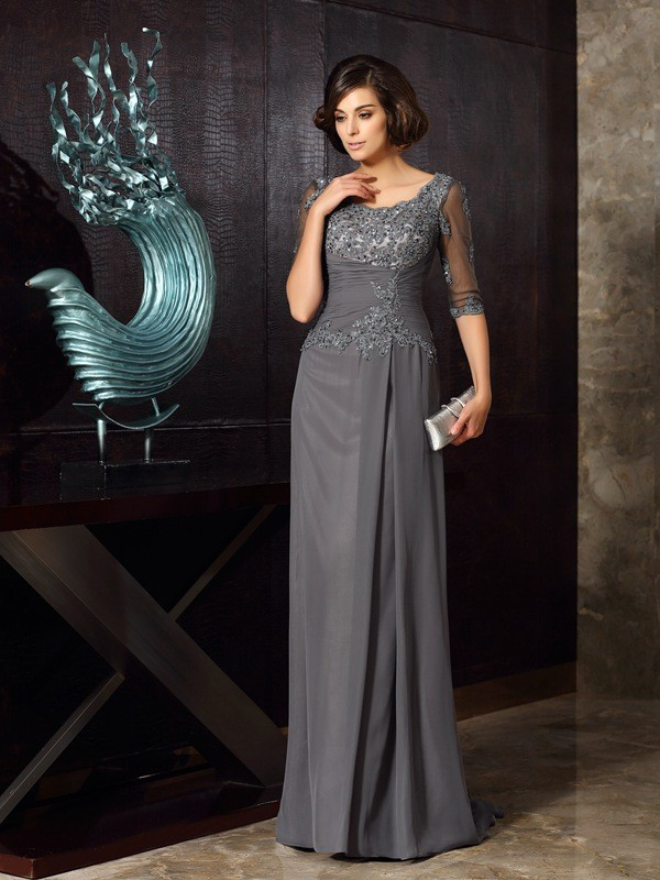 A-Line/Princess Grey Chiffon Floor-Length Mother Of The Bride Dresses with Beading