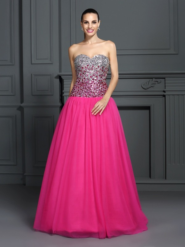 Ball Gown Pink Organza Floor-Length Dresses with Other