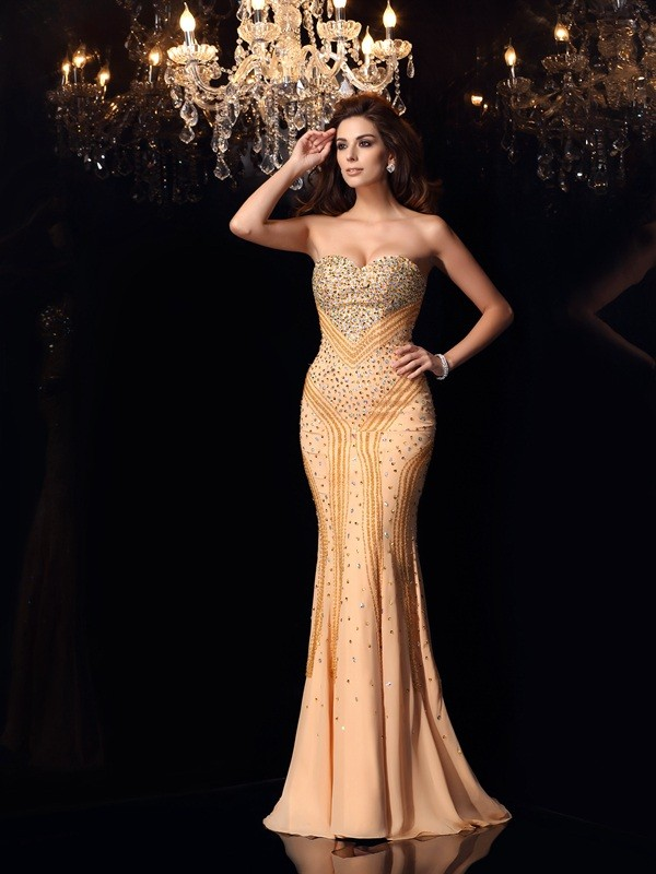 Trumpet/Mermaid Champagne Chiffon Sweep/Brush Train Dresses with Beading
