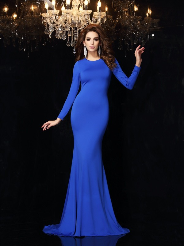Trumpet/Mermaid Royal Blue Spandex Sweep/Brush Train Dresses with Other