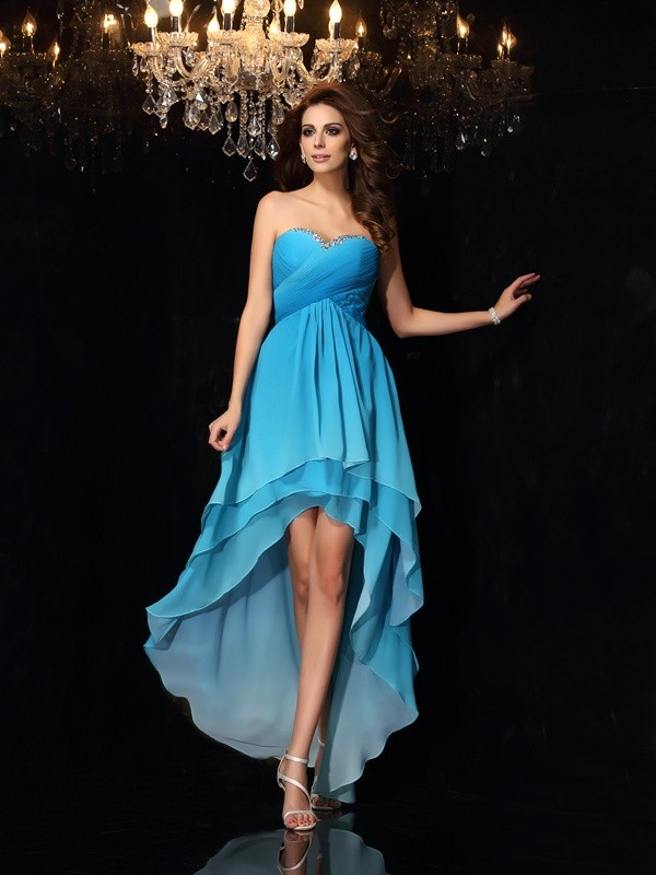 A-Line/Princess Multi Colors Chiffon Asymmetrical Dresses with Ruched