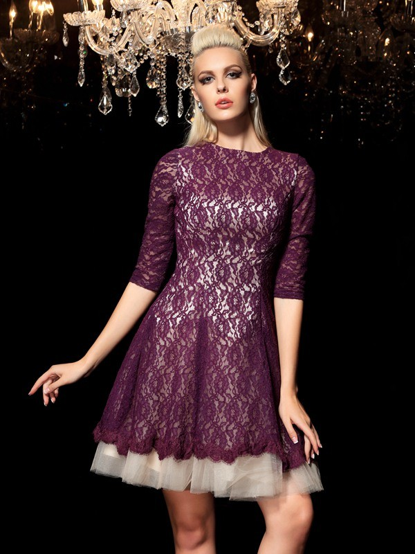 A-Line/Princess Regency Lace Short/Mini Homecoming Dresses with Lace