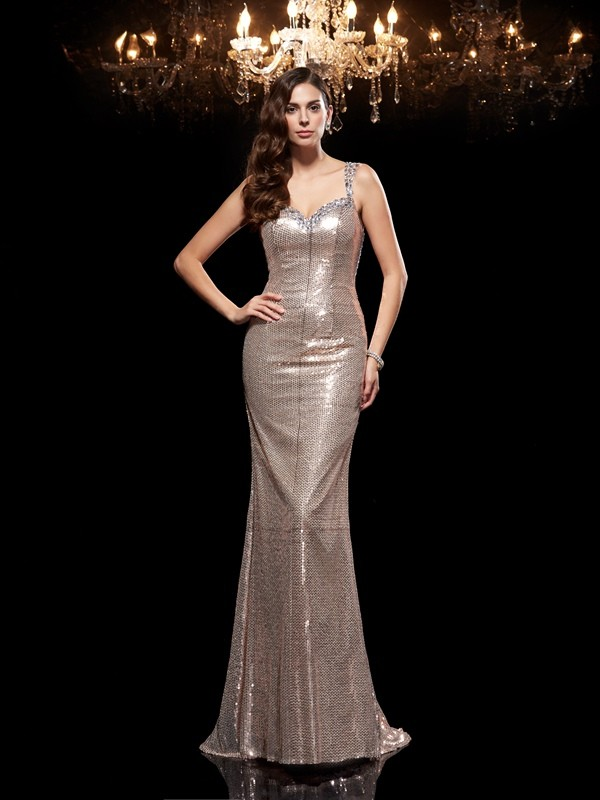 Sheath/Column Silver Sequins Sweep/Brush Train Evening Dresses with Beading