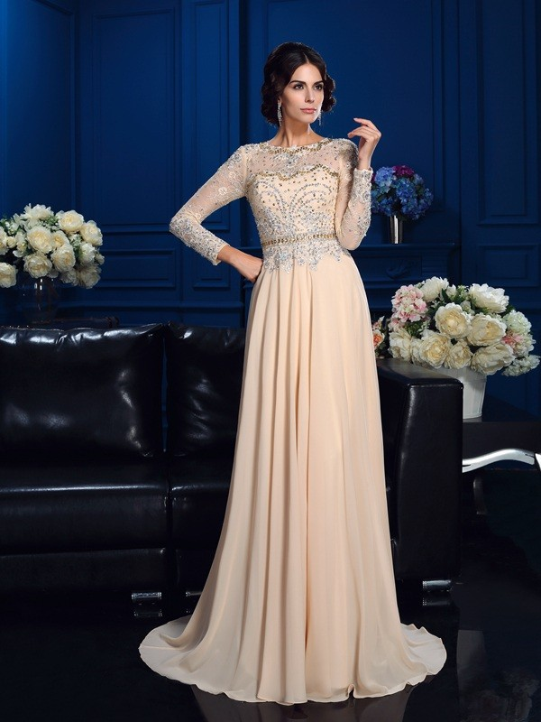 A-Line/Princess Champagne Chiffon Sweep/Brush Train Mother Of The Bride Dresses with Beading