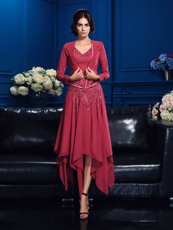 A-Line/Princess Red Chiffon Asymmetrical Mother Of The Bride Dresses with Applique