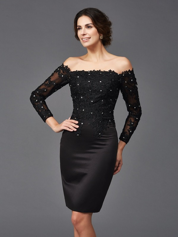Sheath/Column Black Satin Knee-Length Mother Of The Bride Dresses with Lace