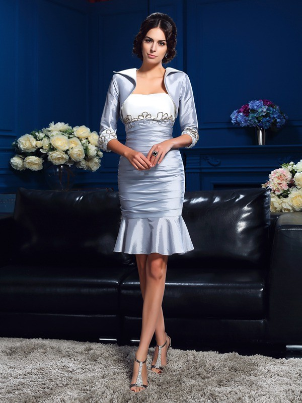 Sheath/Column Silver Taffeta Short/Mini Mother Of The Bride Dresses with Other