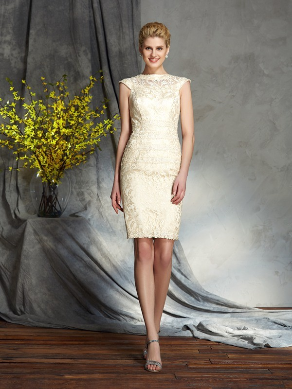 Sheath/Column Champagne Elastic Woven Satin Short/Mini Mother Of The Bride Dresses with Other