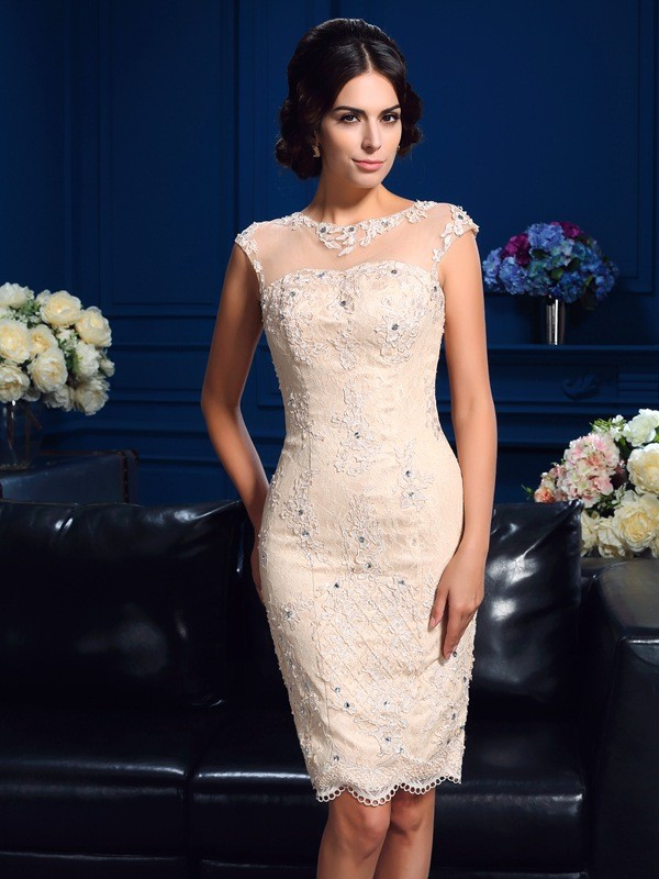 Sheath/Column Champagne Lace Short/Mini Mother Of The Bride Dresses with Lace