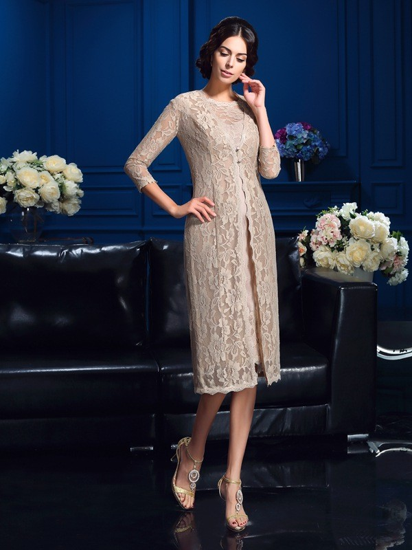 Sheath/Column Ivory Taffeta Knee-Length Mother Of The Bride Dresses with Lace