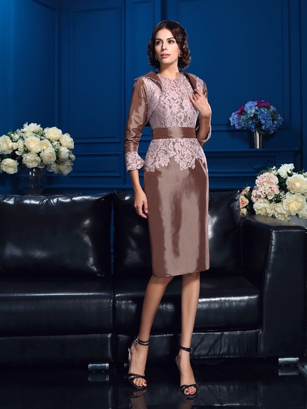 Sheath/Column Other Taffeta Knee-Length Mother Of The Bride Dresses with Lace