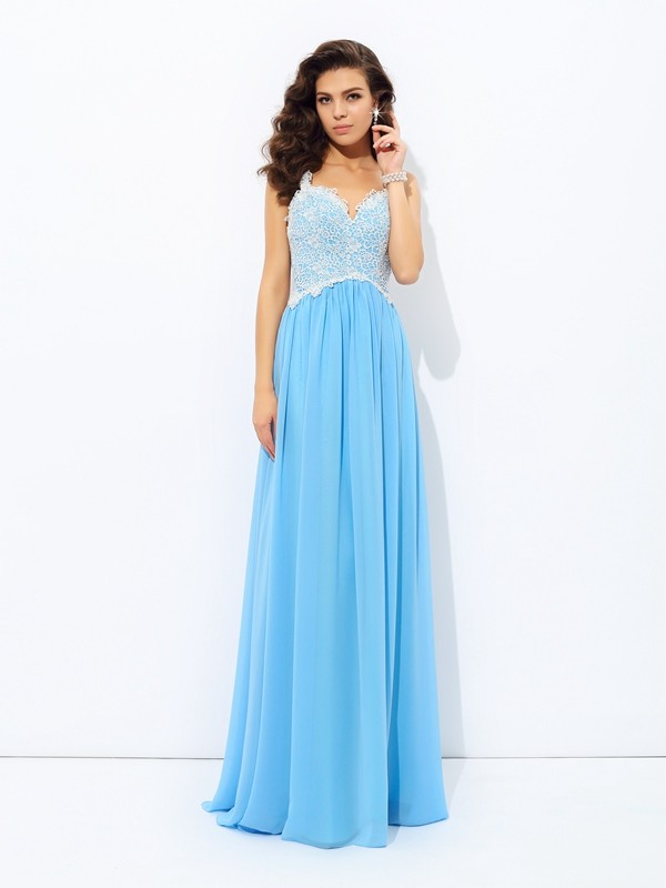 A-Line/Princess Light Sky Blue Chiffon Floor-Length Dresses with Lace